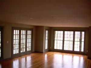 Great room has huge views of water