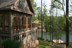 Sunroom above, storage below, waterfront